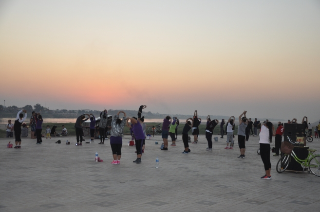 exercises as the sun sets
