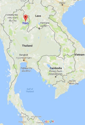 Nan location in Thailand