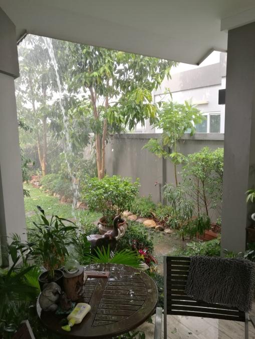 raining heavily